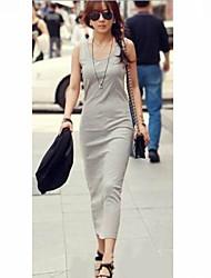 JANE FANS Slim Solid Color Ankellange Dress