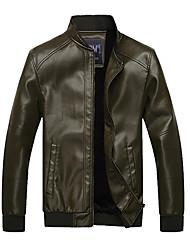 ARW Mænds Emerald Slim Style Tilføjelse Soft Nap PU Leather Coat