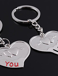 Personalized Engraved Gift a Pair Heart Shaped Lover Keychain