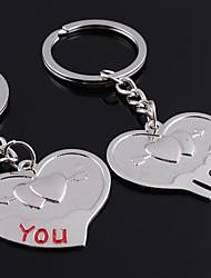 Недорогие -Персонализированные выгравированы подарить Сердце Pair Shaped Любовник брелок