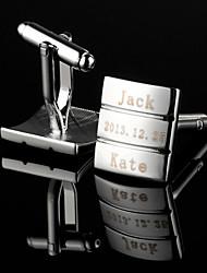 Недорогие -Персональный подарок Прямоугольник интерференционной картины Серебряный гравированные запонки