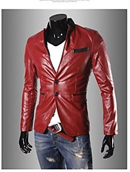 Stand Collier Fashion PU Leather Jacket Coat Men