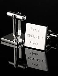 Недорогие -Персональный подарок Squared Серебряный гравированные запонки
