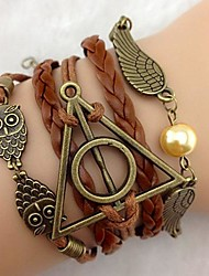 cheap -Layered Leather Bracelet - Leather Owl, Wings, Infinity Personalized, Casual, Leather Bracelet Brown For Party / Gift / Daily