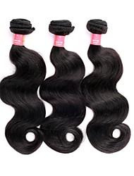 Недорогие -16 18-дюймовый Великие 5А бразильские Девы человеческих волос Природа Черный цвет объемная волна Наращивание волос