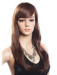 cheap -Synthetic Hair Capless Wig high quality 20 human hair 80 heat resistant fiber hair capless long wavy wig dark brown