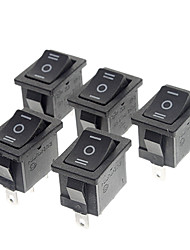 abordables -MR-3-203 Switch 3-Pin Rocker barco - Negro (Paquete de 5 piezas, Negro)