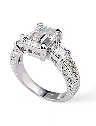 Rectangle Emerald Cut CZ Zircon Engagement Ring   Elegant Style