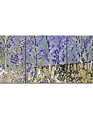 Óleo pintado mão Pintura Blue Tree Paisagem com Set quadro esticada de 3