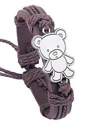 Z&X®  Teddy National 25cm Men's Leather Wrap Bracelet(1 Pc)