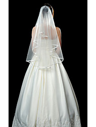 cheap -One-tier Ribbon Edge Wedding Veil Fingertip Veils 53 53.15 in (135cm) Tulle A-line, Ball Gown, Princess, Sheath/ Column, Trumpet/ Mermaid