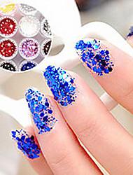 1PCS Hexagonal Tabletten Glitter Nail Art Dekorationen NO.13-18 (verschiedene Farben)