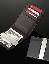 cheap -Personalized Gift Men's Black PU Leather Metal Money Clip (within 8 characters)