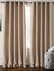 cheap -Rod Pocket Grommet Top Tab Top Double Pleat Two Panels Curtain Modern , Embossed Living Room Polyester Material Blackout Curtains Drapes