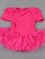 お買い得  -女の子の レオパード コットン スパンデックス ドレス 夏 半袖 Brown フクシア