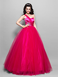 A-Line One Shoulder Sweetheart Floor Length Tulle Prom Dress by TS Couture®