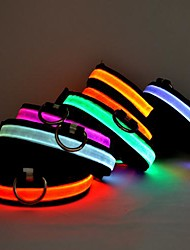 abordables -Gato Perro Cuello Luces LED Ajustable / Retractable Un Color Nailon Amarillo Rojo Verde Azul Rosa