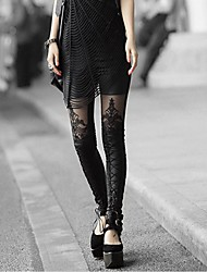 cheap -Women's Lace Embroidery Stitching Leather Leggings