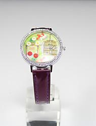 cheap -HEBE Women's Sweet Meteor Shower Diamond Up Leather Leisure Watch