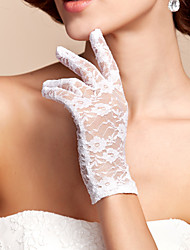 cheap -Lace Polyester Wrist Length Glove Classical Bridal Gloves With Solid