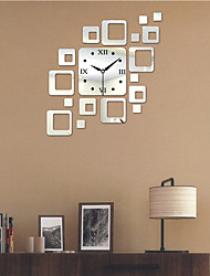 "19.75""H Modern Style PS Block Mirror Wall Clock"