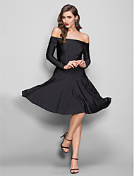 cheap -Sheath / Column Off-the-shoulder Knee Length Jersey Homecoming Dress with Pleats by TS Couture®