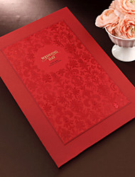 cheap -Red Floral Guest Book with Embossed Cover (5 Pages) Sign In Book