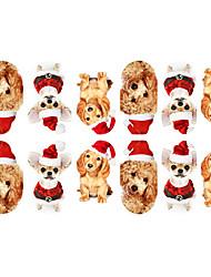 preiswerte -12PCS Mini Pet Dogs mit Weihnachtsmütze Muster Luminous Nail Art Sticker