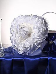 cheap -White Satin Roses & Lace Wedding Ring Pillow With Ring Box Wedding Ceremony