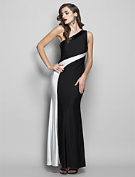 cheap -Sheath / Column One Shoulder Floor Length Jersey Prom Formal Evening Military Ball Black Tie Gala Dress with Beading by TS Couture®