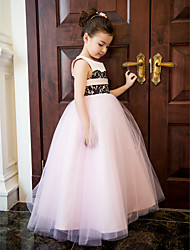cheap -A-Line Ankle Length Flower Girl Dress - Lace / Satin / Tulle Sleeveless Jewel Neck with Lace / Flower / Pleats by LAN TING BRIDE® / Spring / Summer / Fall / Formal Evening / Wedding Party