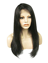 100% capelli umani indiani parrucca merletto 20inch 150% di densità Natural Black completa