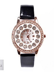 cheap -Personalized Gift Women's White Dial Black PU Band Analog Engraved Watch with Rhinestone