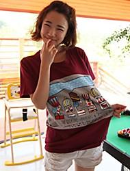 abordables -Patrón Ocio cuello redondo de la historieta de la Mujer Liuliu Camiseta de algodón