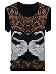 preiswerte -Druck Normal T-shirt, Rundhalsausschnitt Kurze Ärmel Baumwollmischung