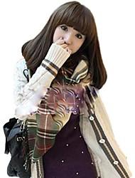Women Capless Medium Long Curly Hair Light Brown Synthetic Full Bang Wig