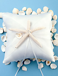 cheap -Beach Themed Starfish Design White Satin Ring Pillow Classic Theme