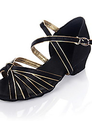 "Femme Enfants Latines Salon Satin Similicuir Talon Talon Bottier Noir et Or 1 ""- 1 3/4"" Non Personnalisables"