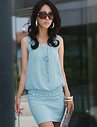 il lavoro delle donne intorno mini abito collo, sleeveless chiffon più il formato