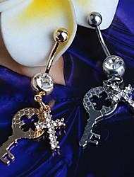 cheap -Lureme®316L Surgical Titanium Steel Crystals Cross Key Pendant Navel Ring