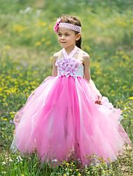 Vestito dalla ragazza di fiore di lunghezza del pavimento dell'abito di sfera - halter sleeveless del tulle di seta con applique