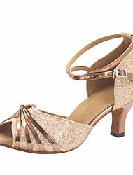 Индивидуальные женщины золото блеск латинские бальные туфли