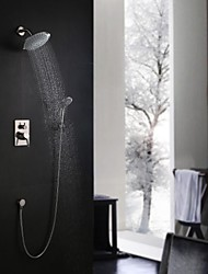 Contemporary Wall Mounted Rain Shower Handshower Included Ceramic Valve Three Holes Single Handle Three Holes Nickel Brushed , Shower