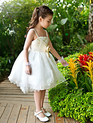 A-Line Ankle Length Flower Girl Dress - Chiffon Tulle Sleeveless Straps with Sequin
