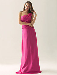 Sheath / Column One Shoulder Floor Length Chiffon Satin Bridesmaid Dress with Side Draping by LAN TING BRIDE®