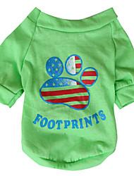 Cachorro Camiseta Roupas para Cães Respirável Bandeira Nacional American / EUA Amarelo Verde Ocasiões Especiais Para animais de estimação