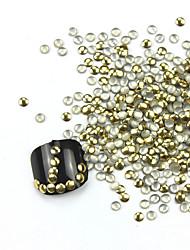 abordables -De 300PCS 3D Golden Nail Art Redondez aleación de oro y plata Decoraciones