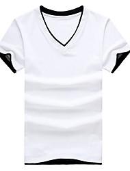 T-shirt Uomo Casual Tinta unita Cotone Manica corta-Nero / Bianco / Grigio