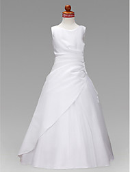 A-Line Princess Floor Length Flower Girl Dress - Satin Tulle Sleeveless Jewel Neck with Ruching Ruffles by LAN TING BRIDE®