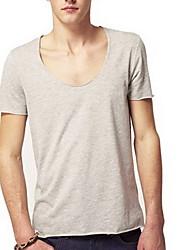T-shirt Uomo Casual Tinta unita Cotone Manica corta-Nero / Blu / Bianco / Giallo / Grigio